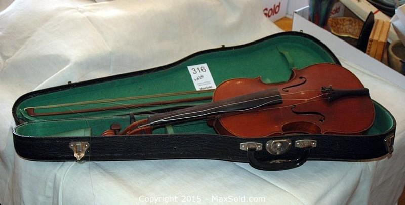 Violin with bow in case